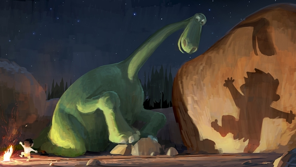 "Arlo, a 70-foot-tall teenage Apatosaurus, befriends a young human boy named Spot in Disney•Pixar's ""The Good Dinosaur""—in theaters May 30, 2014. ©2013 Disney•Pixar. All Rights Reserved."